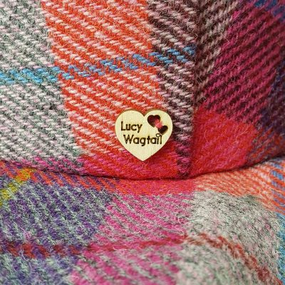 Lucy Wagtail Button on Harris Tweed